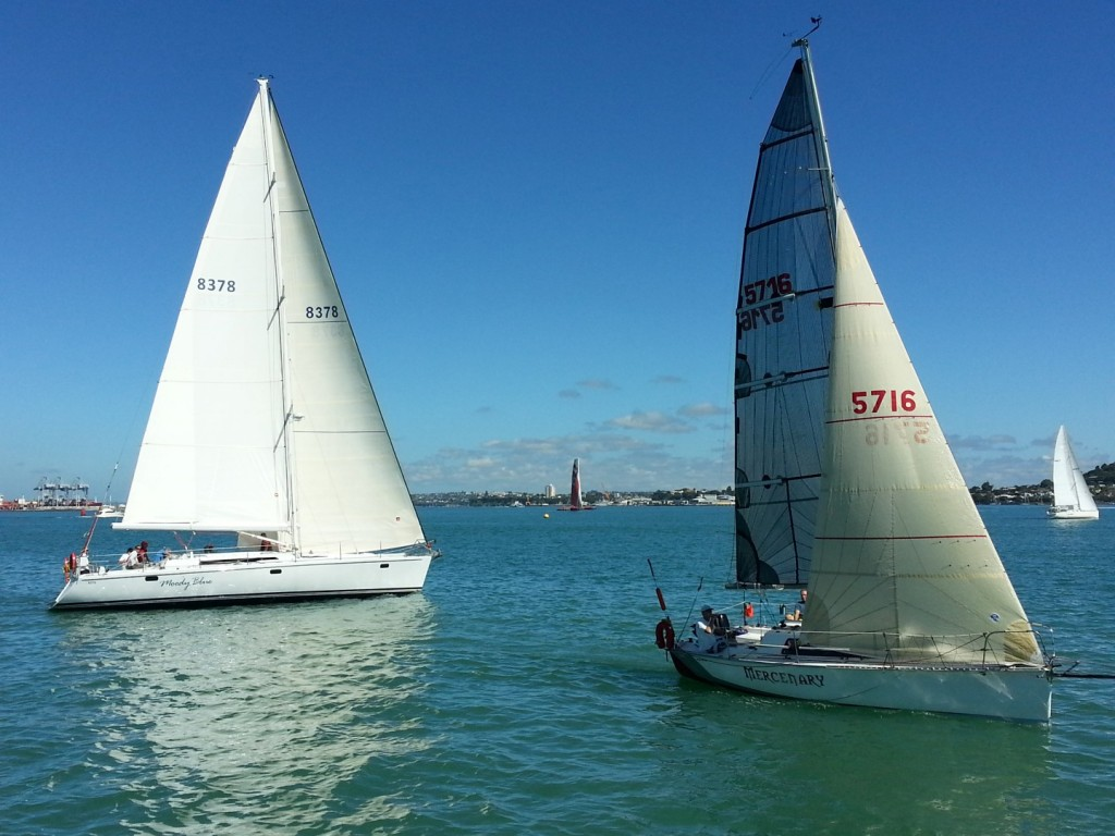 Liberte II and Mercanary at the start of the 2013 Round White Island Race - Photo by RAYC Media
