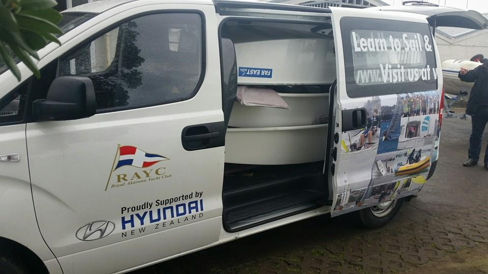 Loading the van full of Optis. Thanks Hyundai New Zealand!