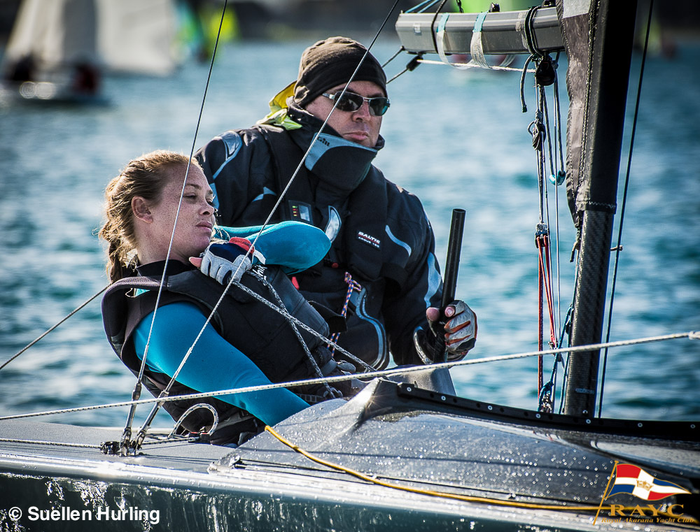 Tim and Gemma will have to work hard to keep their lead this weekend! - Sailing Winter Series - Sunday 28 June 2015 © Suellen Hurling | RAYC