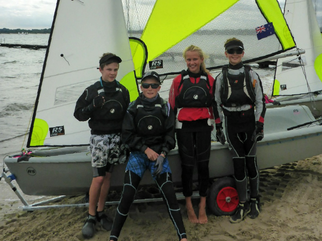 RAYC Feva Worlds Team, Hamish McLaren (Left), Eli Liefting (Middle Left), Rose Dickson (Middle Right), Hamish McLaren (Right)