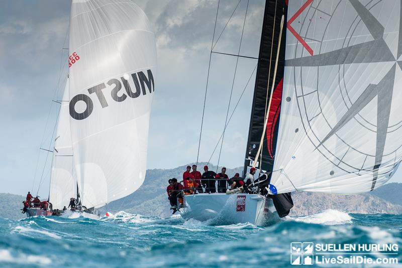 Beau Geste ahead of Secret Mens Business during Hamilton Island Race Week