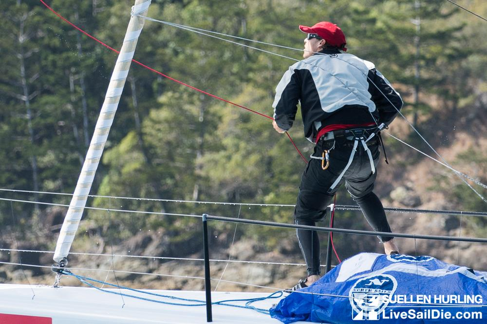 Matt Kelway in action on the bow of Beau Geste