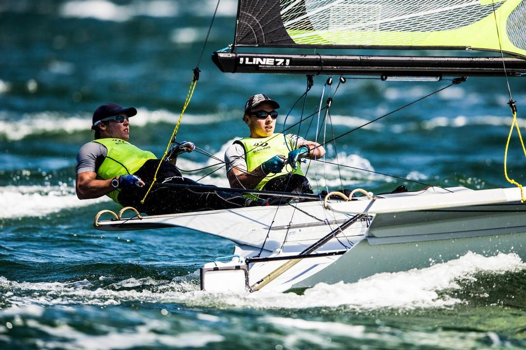 Isaac McHardie and William Mckenzie (NZL) 49er class - Sailing World Cup Final Melbourne- Day 2 © Pedro Martinez / Sailing Energy / World Sailing