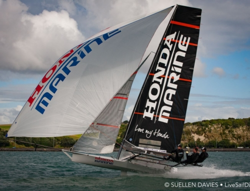 Challenging first day for 18′ Skiff ANZAC Championship